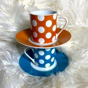Set of 2 - Polka Dot Tea/Espresso Cup & Saucer ☕️
